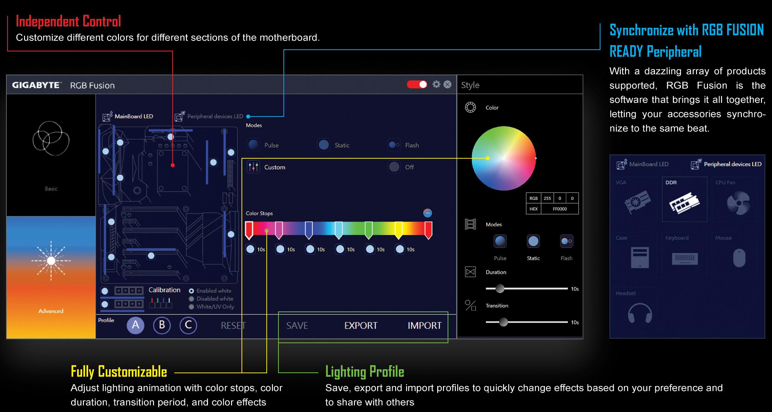 Anschließend können Sie Ihr Lichtprofil ganz einfach speichern und mit anderen teilen