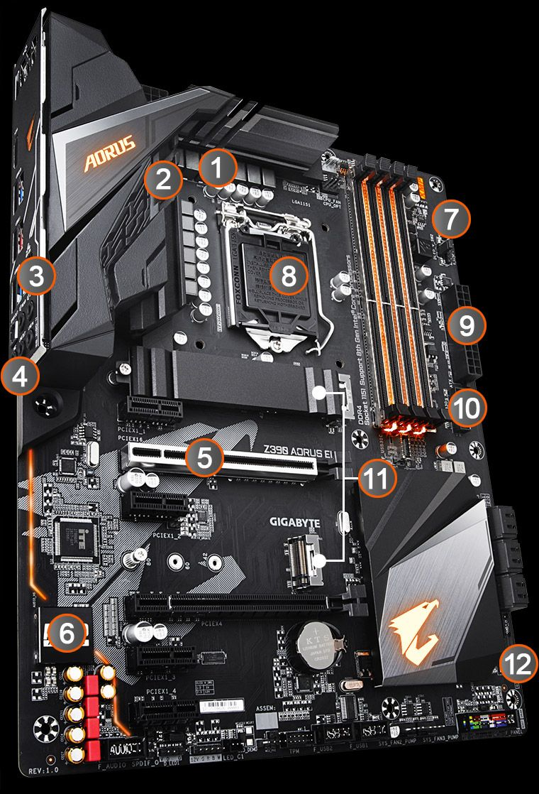 Z390 Aorus Elite Rev 10 Motherboard Gigabyte Global Circuit Board Electronic Background Mother Technical Panel 1