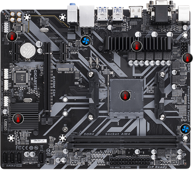 AMD B450M S2H Ultra Durable Motherboard 8 optimark