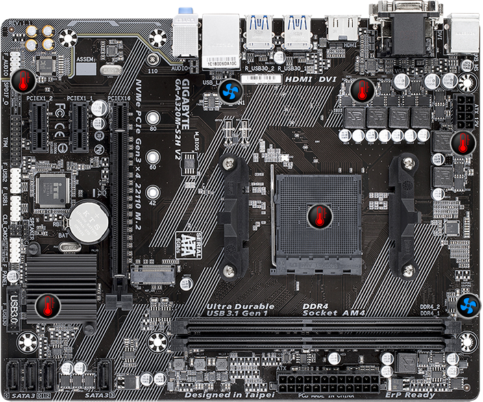 2xDDR4// HDMI MicroATX GIGABYTE GA-A320M-S2H Motherboard AMD Ryzen AM4