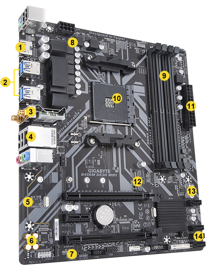 B450m Ds3h Wifi Rev 1 X Key Features Motherboard Gigabyte U S A
