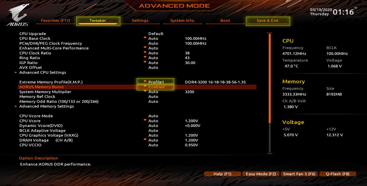 Gigabyte AORUS RGB Memory 16GB (2x8GB) 3200MHz - GP-ARS16G32 8