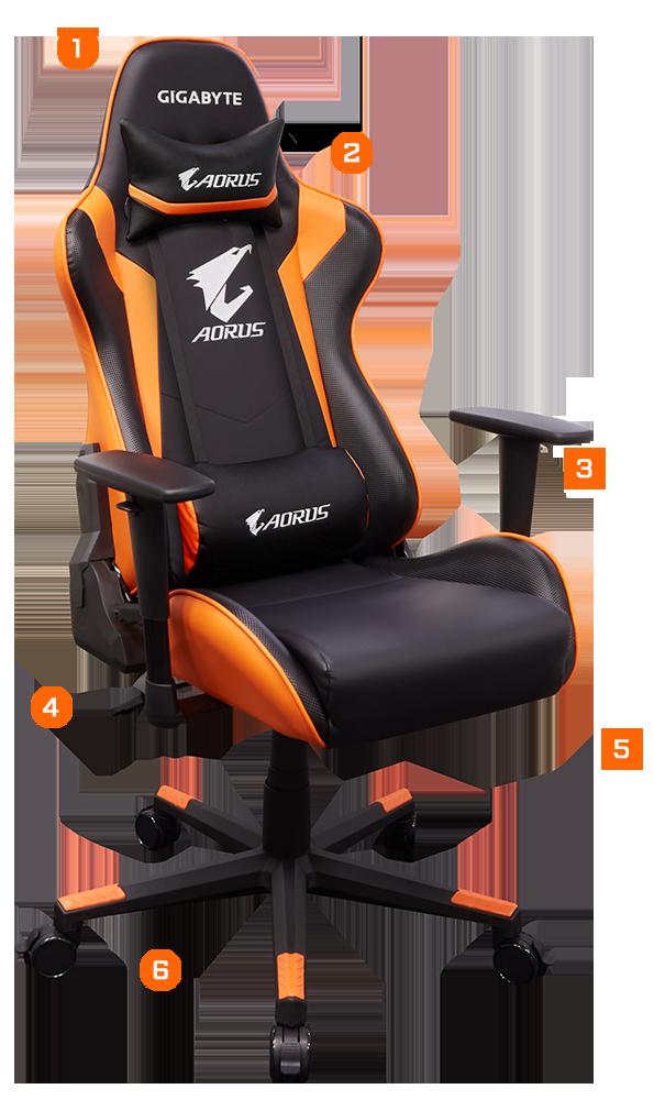 Gigabyte Gp Agc300 Aorus Gaming Chair Black Orange