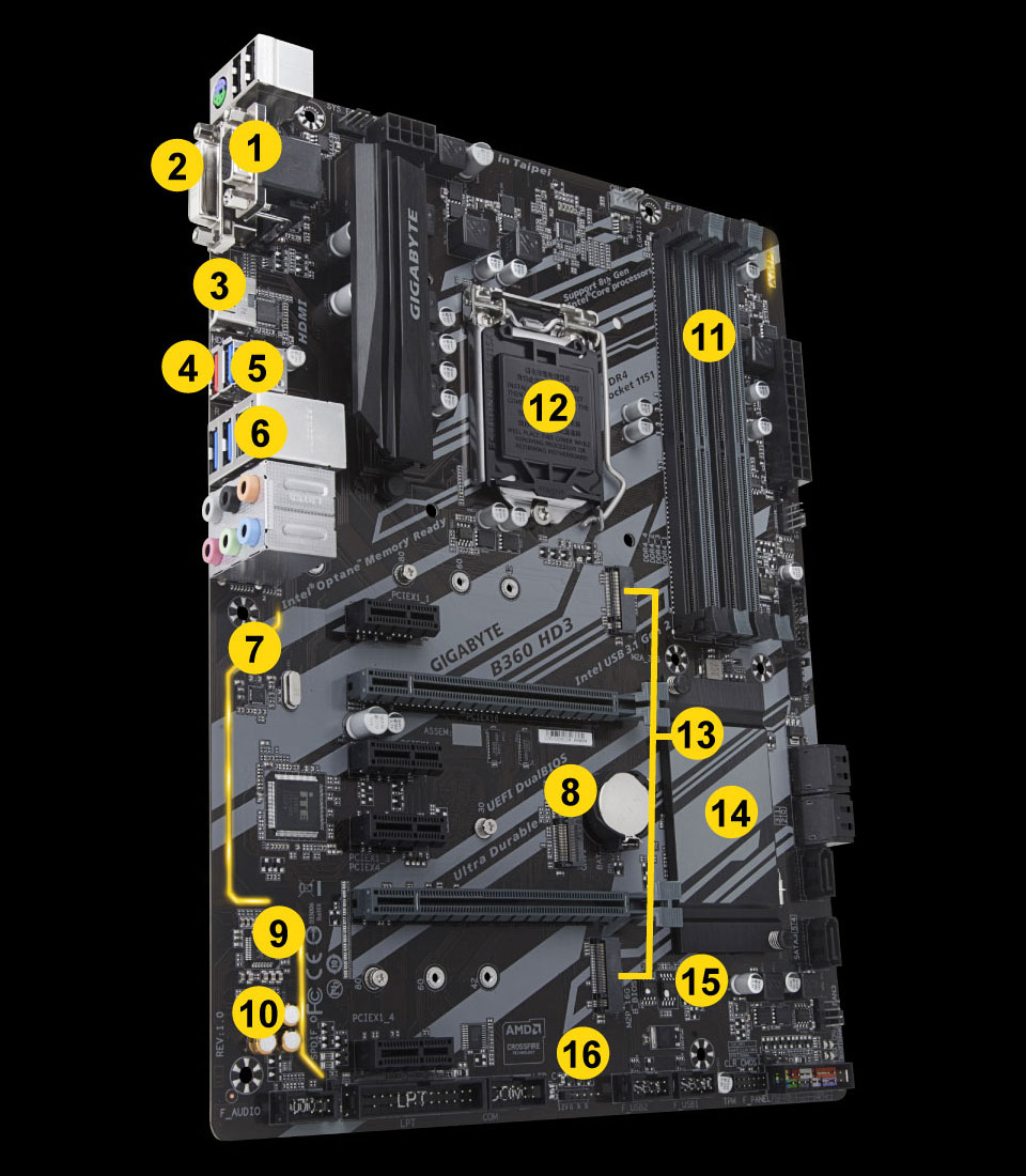 B360 Hd3 Rev 10 Motherboard Gigabyte Global Atx Layout Diagram 3 1