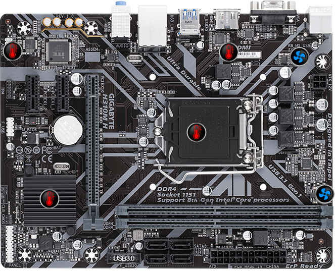 Image result for Gigabyte H310M-H HDMI and VGA Port Ultra Durable motherboard with 8118 Gaming LAN, Anti-Sulfur Resistor, Smart Fan 5