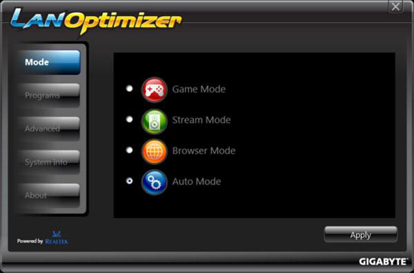Windows 7 GIGABYTE LAN Optimizer 1.0.2.5 full