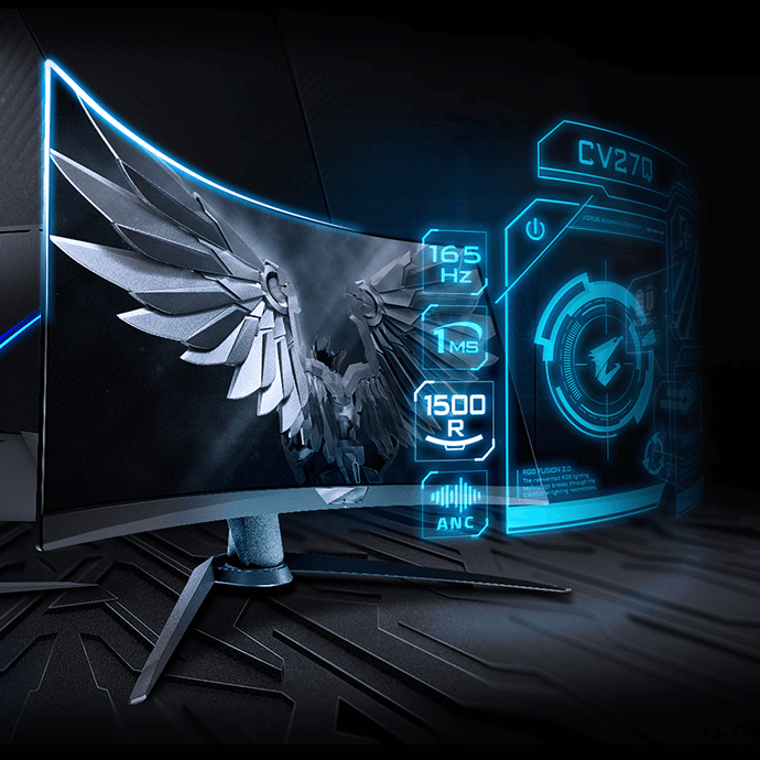 World's 1st Black Equalizer 2 0 Tactical Monitor AORUS CV27Q