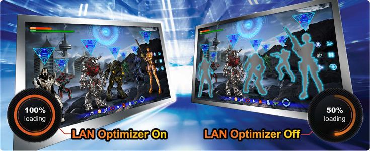 Скорость соединения в два раза быстрее с LAN Optimizer.