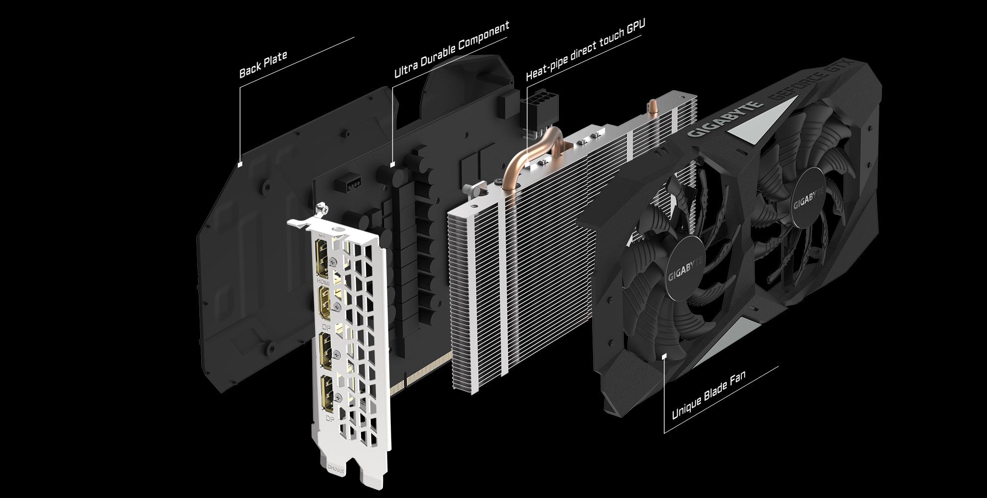 2X Windforce Fans Gigabyte GeForce GTX 1660 OC 6G Graphics Card Gv-N1660OC-6GD Video Card 6GB 192-bit GDDR5