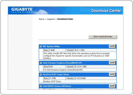 gigabyte motherboard drivers download for xp