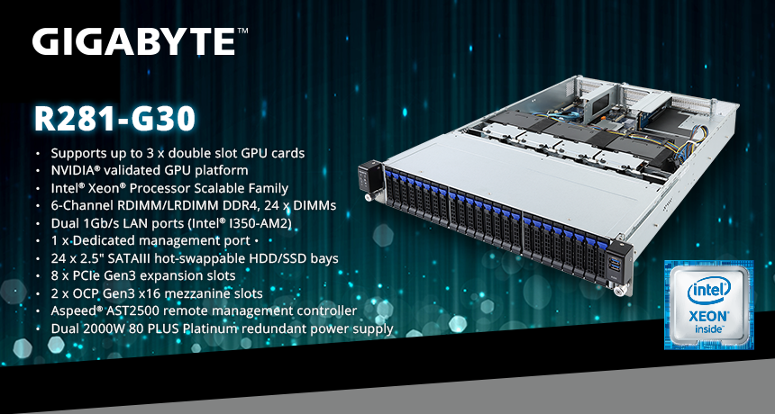 GIGABYTE Boosts Intel's Xeon Scalable Platform With Triple